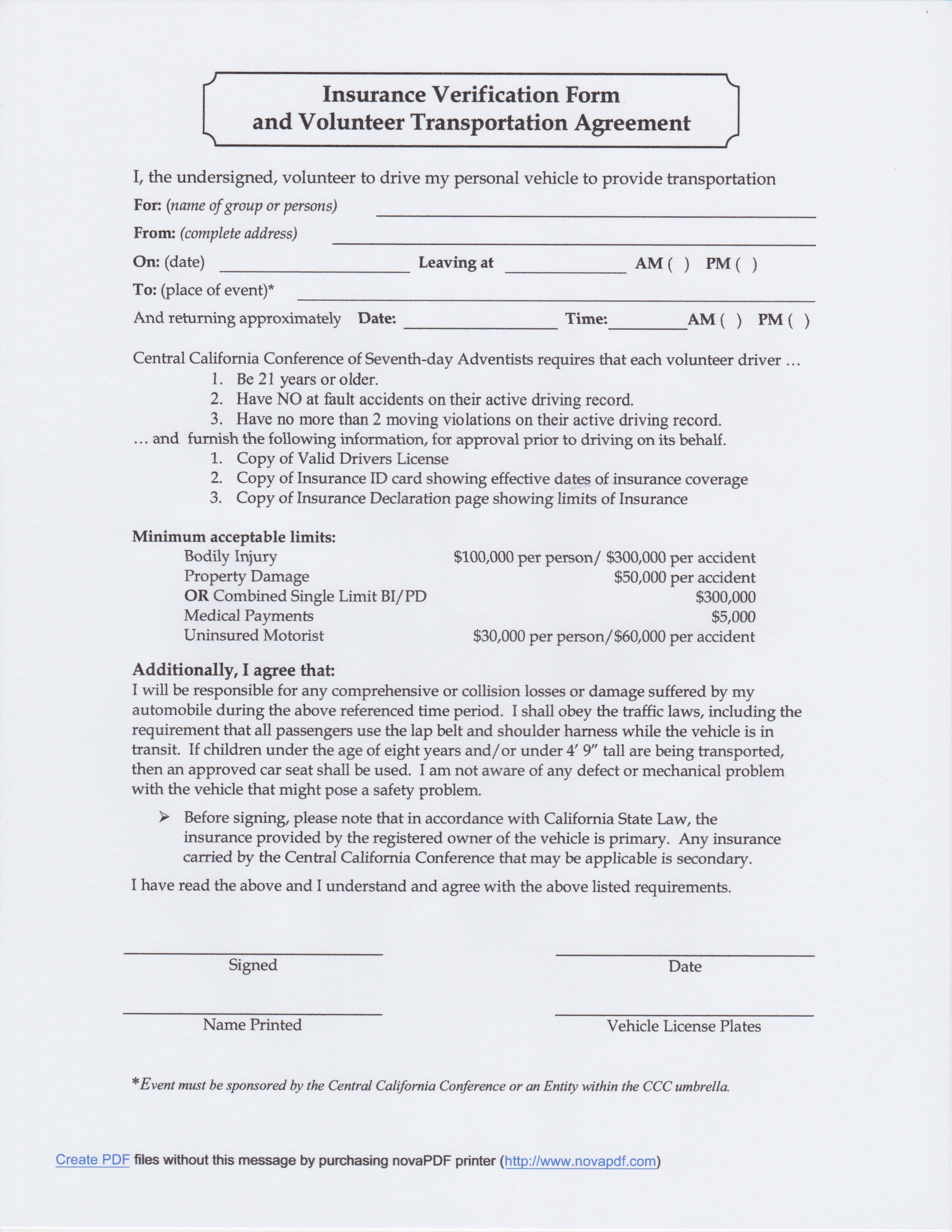 Central California Conference Pathfinders Resources Forms