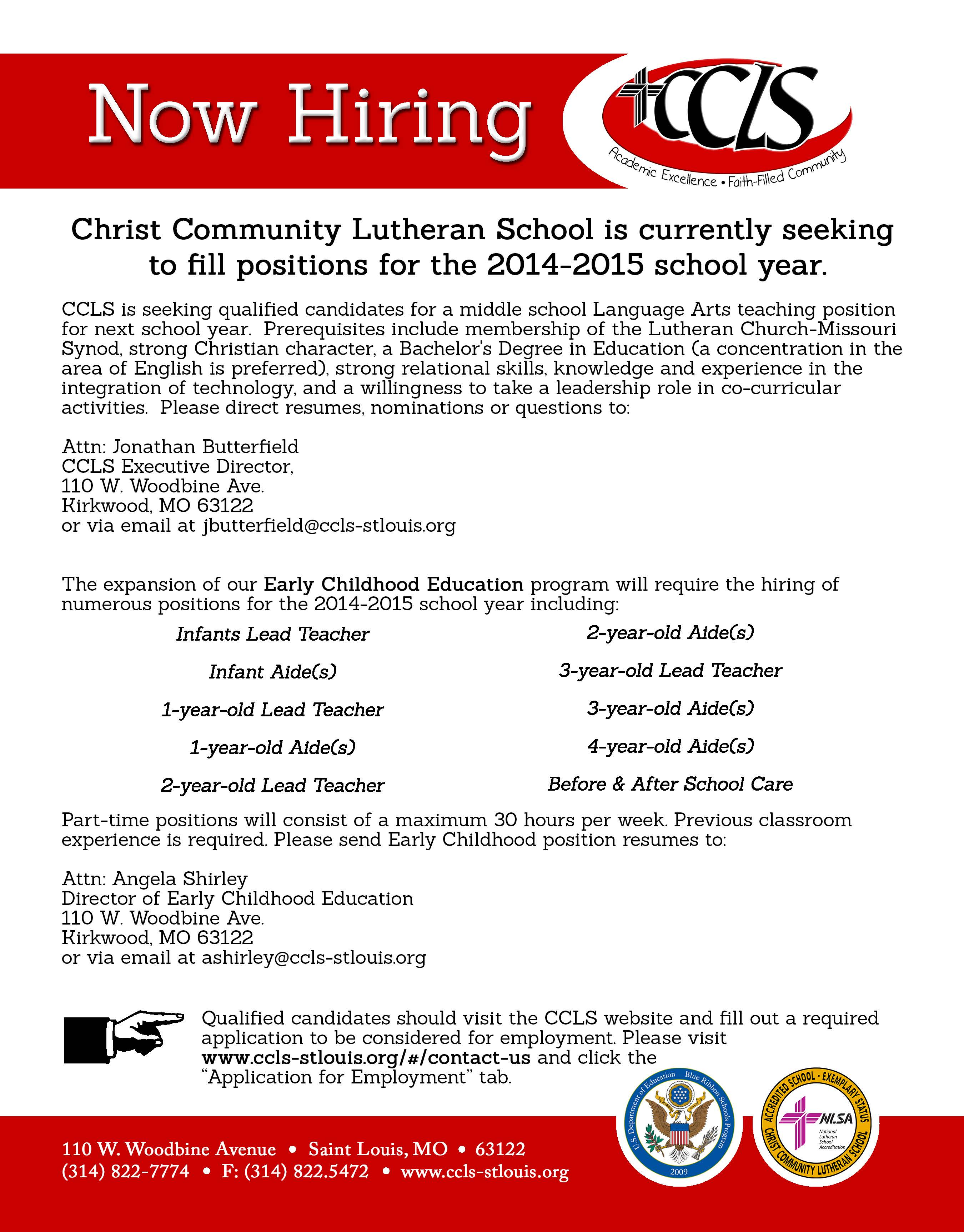Christ Community Lutheran School Contact Us Employment