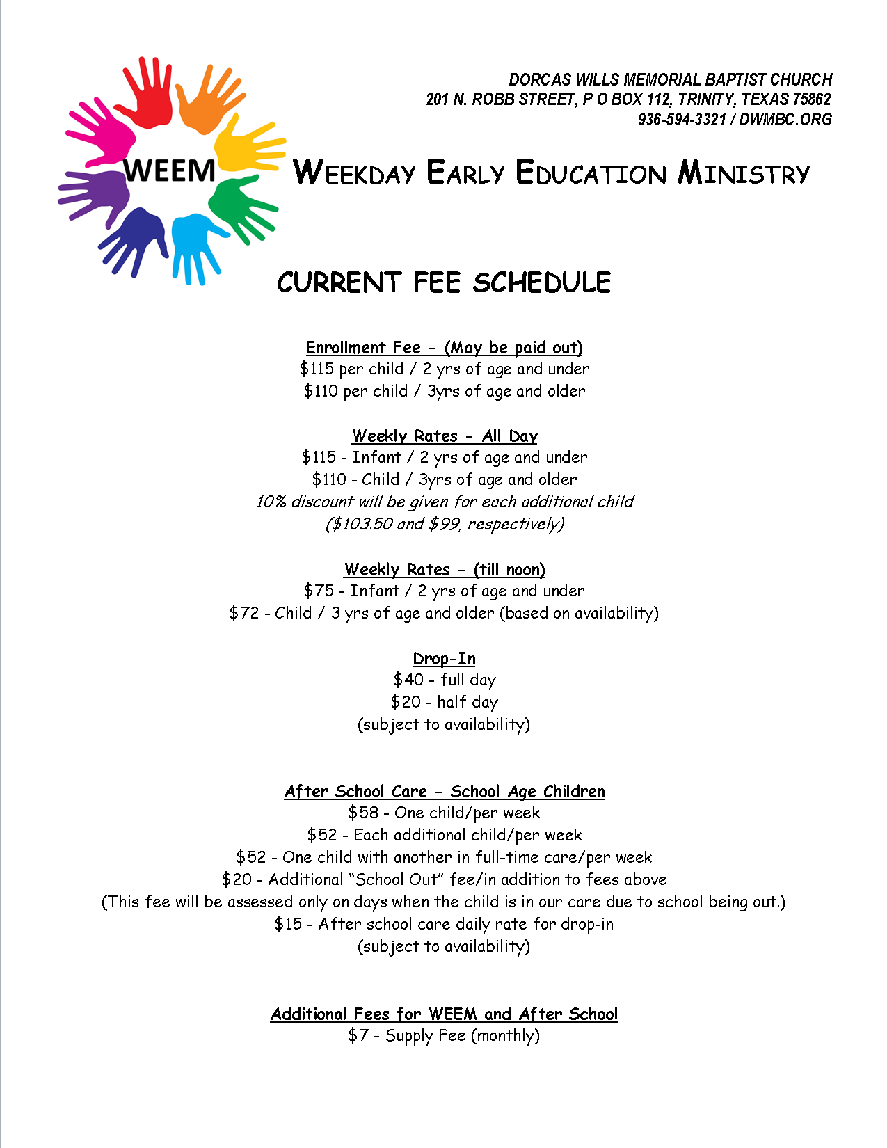Dorcas Wills Memorial Baptist Church / Daycare Ministry / Resources
