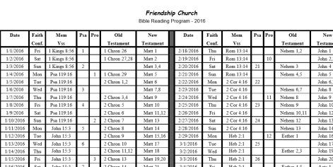 Friendship Church / Resources / Bible Reading Plan - 1 Yr