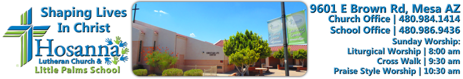 Hosanna Lutheran Church & Little Palms School logo
