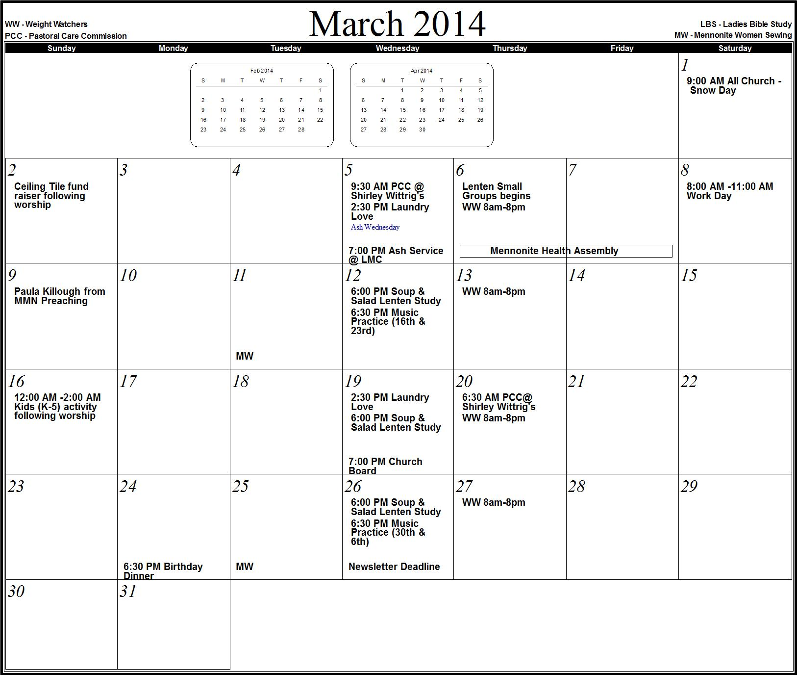 March April May 2014 Calendar March 2014 april 2014 may 2014