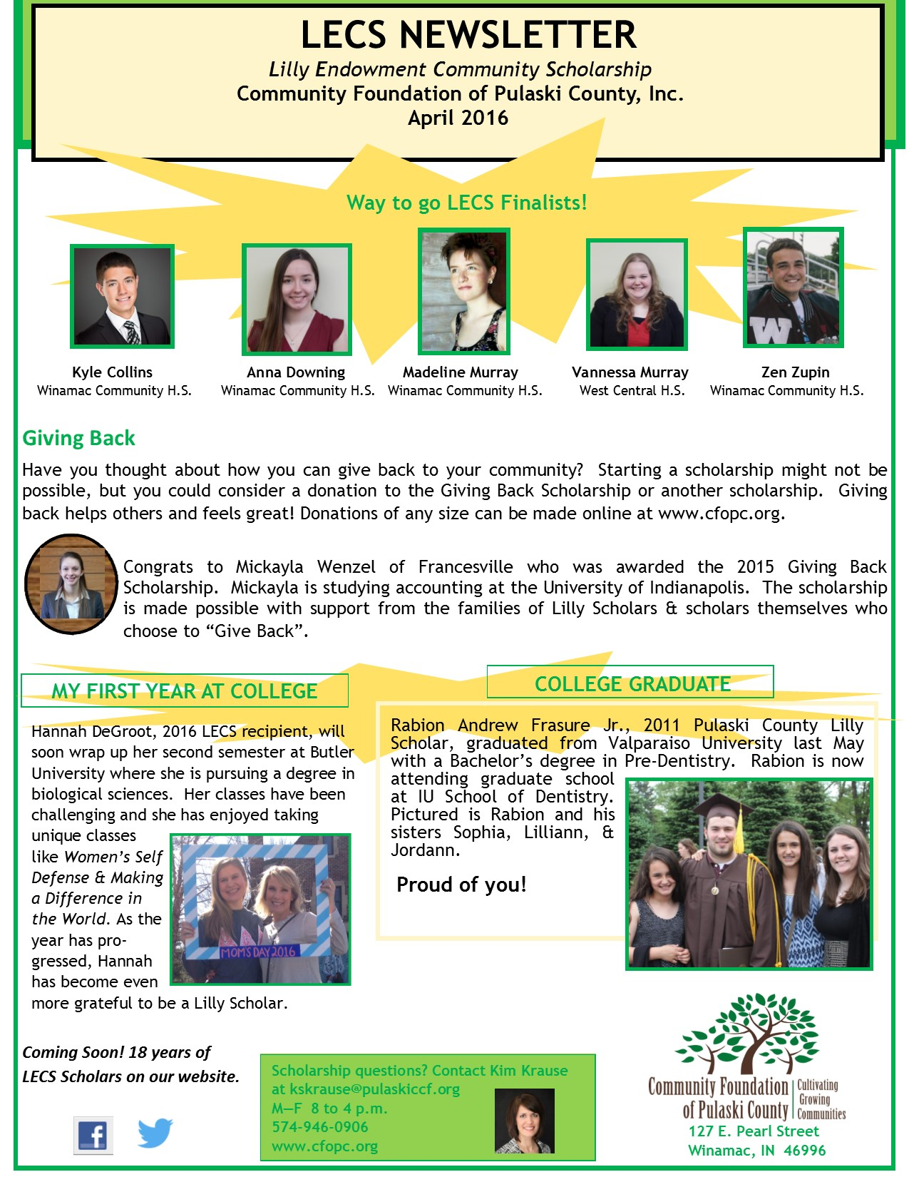 Indiana pulaski county francesville - Check Out The 2016 Newsletter