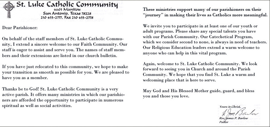 st luke catholic church welcome letter from fr jim