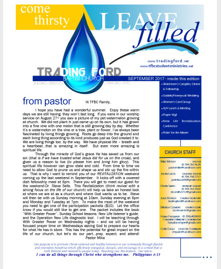 Trading Ford Baptist Church  Resources  Monthly Newsletter